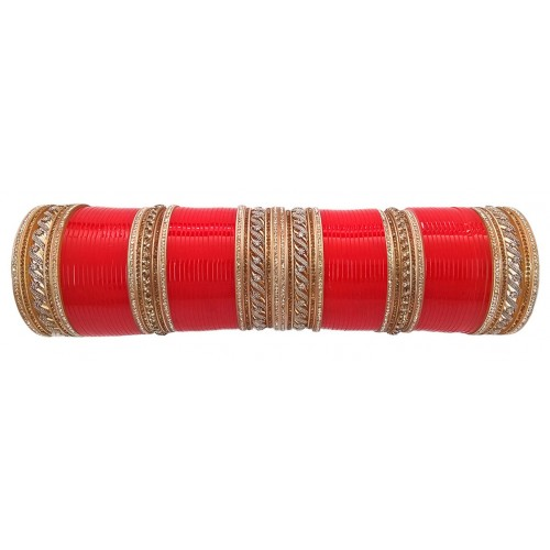 Red Artificial Diamond Wedding Chura, j-230