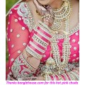 Hot pink kundan chura
