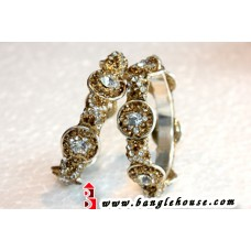 Golden Bangles with Americal Jarkan Stones (Gold ring set)