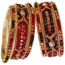 Maroon Green Brass Bangle Set 5