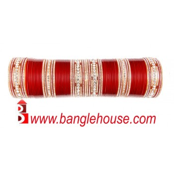 Stunning Red Punjabi Chura - Tammana