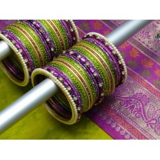 Custom Matching Bangles Set (Green & Purple) 555