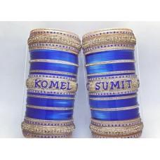 Blue stylish bridal chuda with names