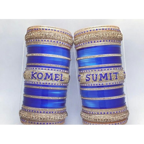 Blue stylish bridal chuda with names