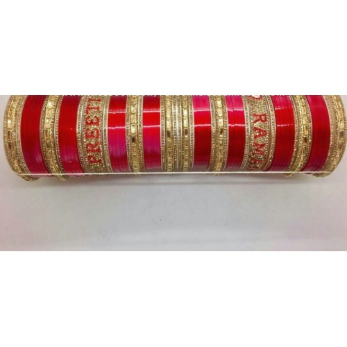Red kundan chuda with couple names