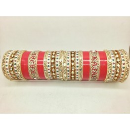 Traditional kundan name chuda in red