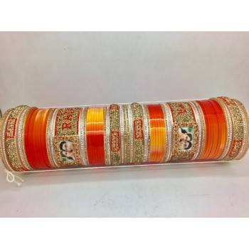 Shiny orange bridal chuda with couple picture