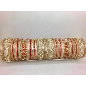 Full stone studded chuda with names