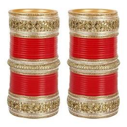 Kundan chuda in red and  gold