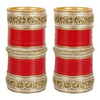 Kundan chuda in red and  gold