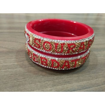 Name bangle Pair in Red