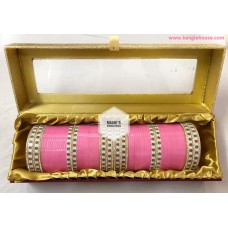 baby pink bridal chuda with dotted bangles