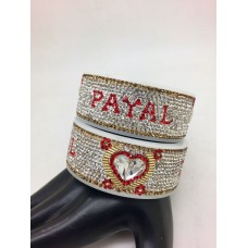 Red and white personalised broad bangle pair