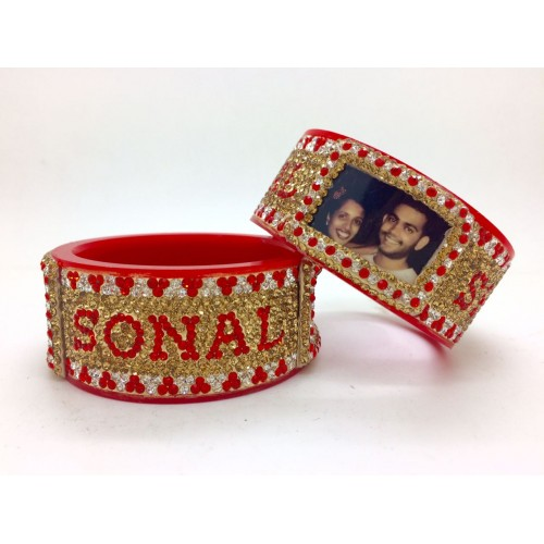 Red and gold personalised bangle pair with couple picture