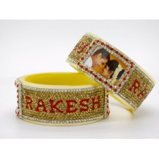Red and gold couple picture bangles
