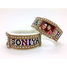 Multi colour couple name bangles with couple picture