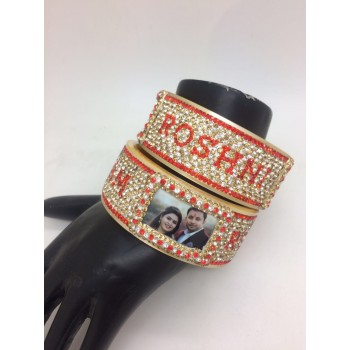Attractive red personalised bangles with couple picture