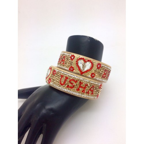 Red and gold personalised couple name broad bangle pair