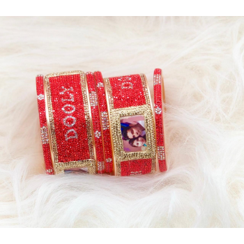 Red and gold couple picture bangle set