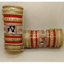 Red kundan chura with names on mosaic pattern