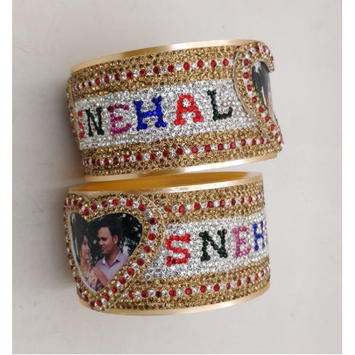 Couple picture bangles with heart shape and multi colour font