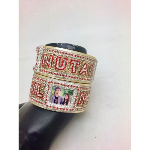 Personalised bangles with double line font and couple picture