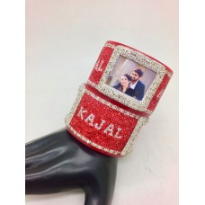 Red and white broad personalised bangles with couple picture