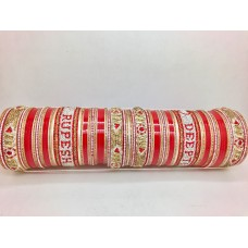 Red and gold bridal chuda with couple names