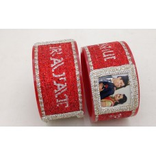 Red customised bangle pair with couple picture and latest font