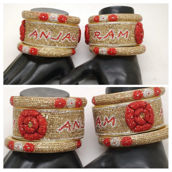 3-d red flower name bangle pair