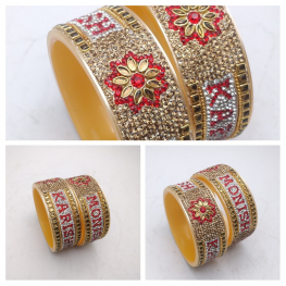 Kundan studded couple name bangles